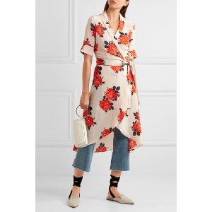 GANNI   Harness floral-print silk crepe de chine wrap dress