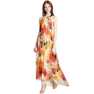 Alice & Olivia Ryan Open Back Floral Print Maxi Dress | Bluefly.Com