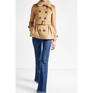 Wool and Cashmere Coat with Rabbit Fur Collar - Burberry