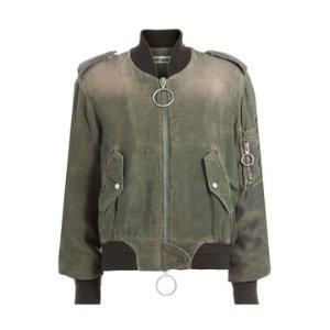Zipped Cupro Jacket - Off White | WOMEN | US STYLEBOP.COM