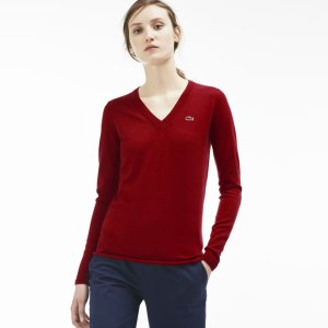 Women's Cotton Jersey V-Neck Sweater | LACOSTE