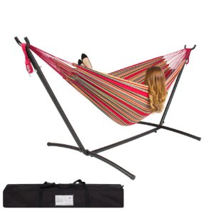 Double Hammock With Space Saving Steel Stand Includes Portable Carrying Case Red | eBay