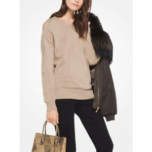 Metallic Cotton-Blend Pullover