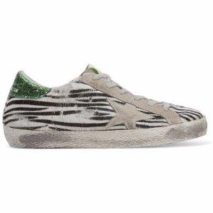 Golden Goose Deluxe Brand   Super Star suede-trimmed zebra-print calf hair sneakers   NET-A-PORTER.COM