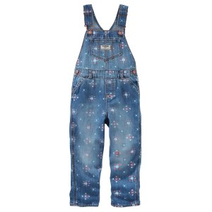 Dot Print Denim Overalls