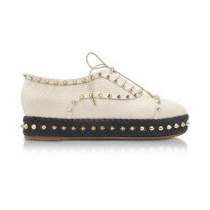Charlotte Olympia Hoxton Ivory Embossed Leather Platform Shoes 35 IT/EU at FORZIERI