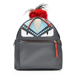 Embellished Backpack with Fox Fur - Fendi | WOMEN | US STYLEBOP.COM