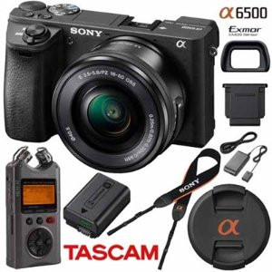 Sony ILCE-6500 a6500 Mirrorless Camera + 16-50mm OSS Lens + Tascam DR-40 Recorder