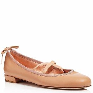 Stuart Weitzman Bolshoi Leather Crisscross Ballet Flats | Bloomingdale's