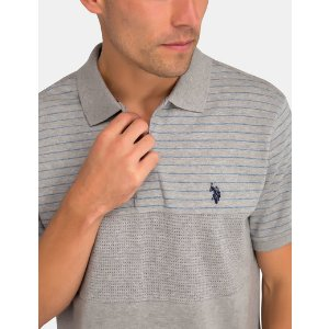 COLOR BLOCK WITH JACQUARD STRIPE POLO SHIRT