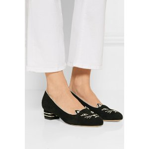 Charlotte Olympia | Kitty embroidered suede pumps | NET-A-PORTER.COM