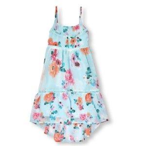 Girls Sleeveless Floral Print Crochet Tier Maxi Dress