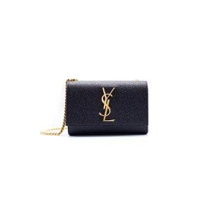 Saint Laurent Saint Laurent Small Black Grained Metallic Monogram Shoulder Bag | Bluefly.Com