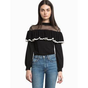 Bennet Fishnet Ruffled Sweater-15% OFF