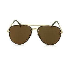 Céline MIRROR CL 41391/S J5GLC Black Acetate & Gold Metal Aviator Unisex Sunglasses