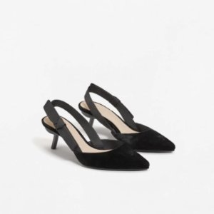 $49Velvet slingback shoes @ Mango