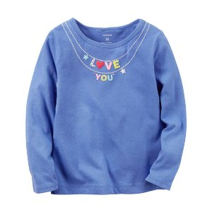 Kid Girl Long-Sleeve Love You Necklace Graphic Tee | Carters.com