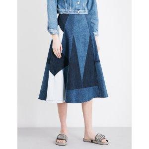 MAJE - Jabla patchwork denim midi skirt   Selfridges.com