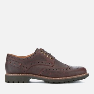 Clarks Men's Montacute Wing Brogues - Chestnut - FREE UK Delivery