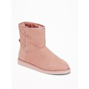 Quilted Faux-Suede Short Adoraboots for Women