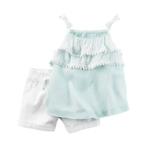 Baby Girl 2-Piece Layered Tank & Twill Short Set | Carters.com