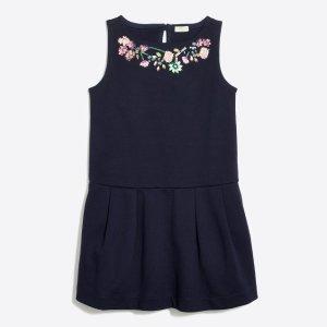 Girls' floral necklace ponte dress