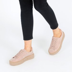 Yinka Creepers In Beige Faux Suede and Gum Sole | Public Desire