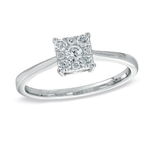 1/4 CT. T.W. Diamond Composite Square Ring in 10K White Gold - Save on Select Styles - Zales