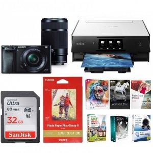 $698Sony a6000 Mirrorless Camera w/ 16-50 & 55-210, WiFi Printer, 32GB Card