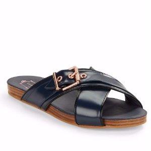 Ted Baker London Lapham Crossed Leather Slide Sandals @ Lord & Taylor
