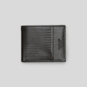 Perforated Leather Double Billfold
