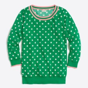 Tipped polka-dot three-quarter-sleeve sweater : FactoryWomen Sweaters | Factory