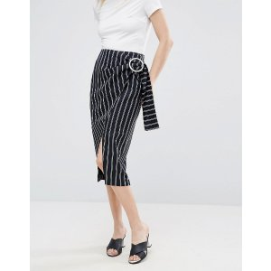 ASOS Pencil Skirt In Stripe with Large Buckle Detail