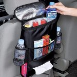 AICase Car Seat Back Organizer, Waterproof Car Trash Bin Leakproof Auto Litter Bag with Side Pocket, Multi-Pocket Travel Storage Bag (Heat-Preservation) (Standard, Black)