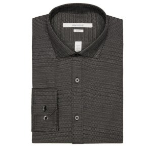 Slim Fit Dobby Step Dress Shirt - Perry Ellis