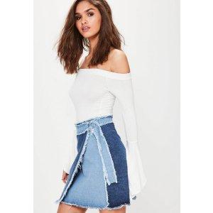 Blue Contrast Wrap Around Frayed Denim Skirt