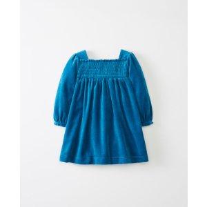 Smocked Dress In Softest Velour