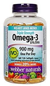 送老人的佳品~ 史低价$13.84Webber Naturals  Omega-3 三倍强效深海鱼油软胶囊 120粒