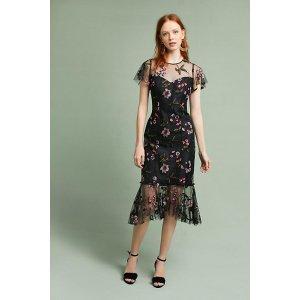 Shoshanna Embroidered Flounced-Hem Dress