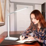 Lighting EVER LE Dimmable LED Desk Lamp, 7 Dimming Levels, Eye-care, 8W, Touch Sensitive