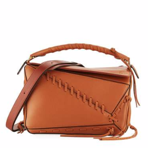 Puzzle Whipstitch Leather Satchel Bag, Tan