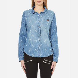Superdry Women's Denim Printed Shirt - Feather Print