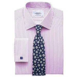 Slim fit bengal stripe lilac shirt | Charles Tyrwhitt