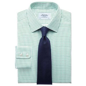 Slim fit twill grid check green shirt | Charles Tyrwhitt