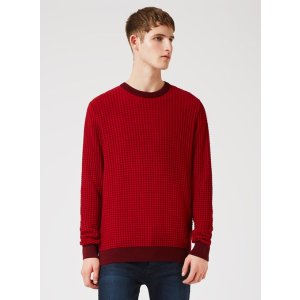 Red Scale Textured Sweater - View All Sale - Sale - TOPMAN USA