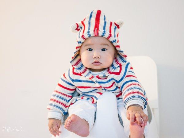 而且哦,这个帽子还有两个小耳朵,敲可爱.