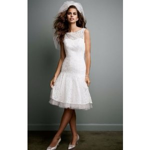 SAMPLE All Over Lace Short Dress with Illusion Neckline