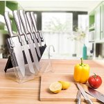 Kitchen Knife Set with Acrylic Stand, X-Chef One Piece Seamless Stainless Steel Kitchen Cutlery 5 Pcs