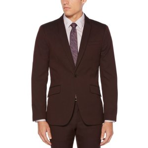 Slim Chocolate Cherry Suit Jacket