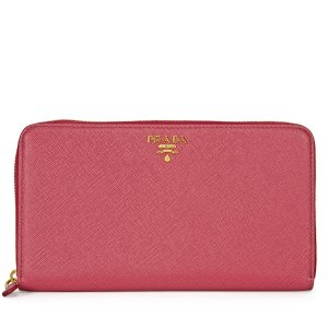 Saffiano Leather Zip-Around Wallet - Peonia